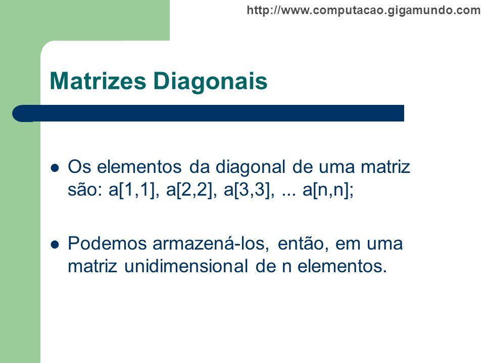 Matrizes Diagonais Os elementos da diagonal de uma matriz são: a[1,1], a[2,2], a[3,3], ... a[n,n];